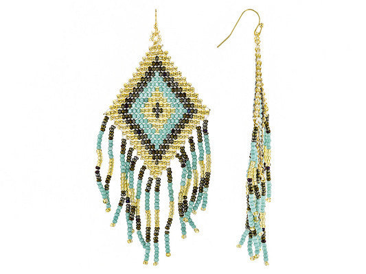 Yellow,Blue & Brown Glass Seed-Bead 18k Gold Over Bronze Earrings