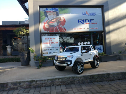 DEMO 12V Ford Ranger 2 seater kids ride on car-white KIDS RIDE ON ELECTRIC CARS- SA SCOOTER SHOP