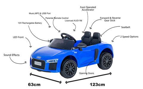 12V Audi R8 kids electric ride on car - blue