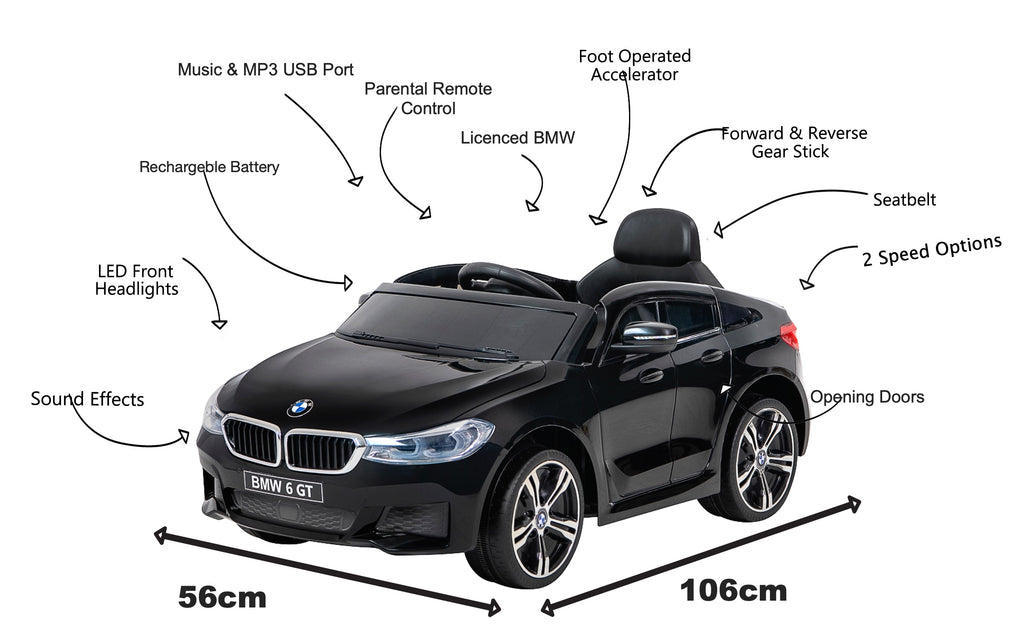 12V BMW GT Kids electric ride on car-BLK