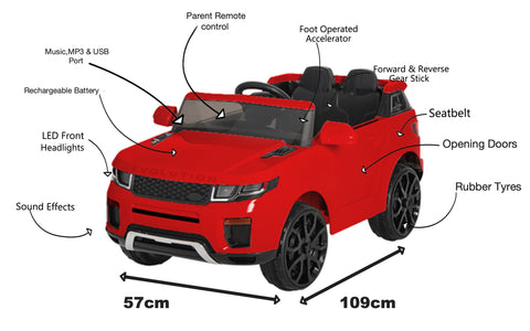 Image of 12V Evoque replica kids electric ride on car- Red