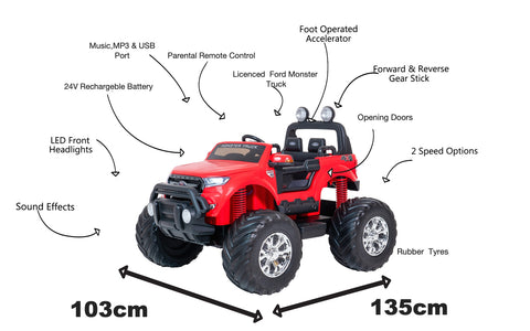 Image of 24V Ford Monster truck kids ride on car (Red) ride on car, 4 Wheel drive and Rubber tyres