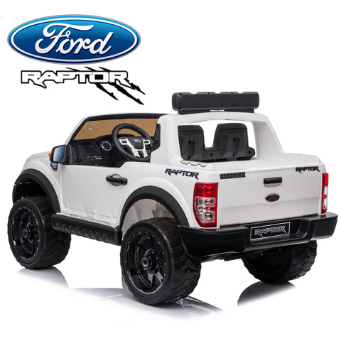 Image of Demo *NEW*  White Ford Raptor  - 2 seater kids electric ride on car rubber tyres