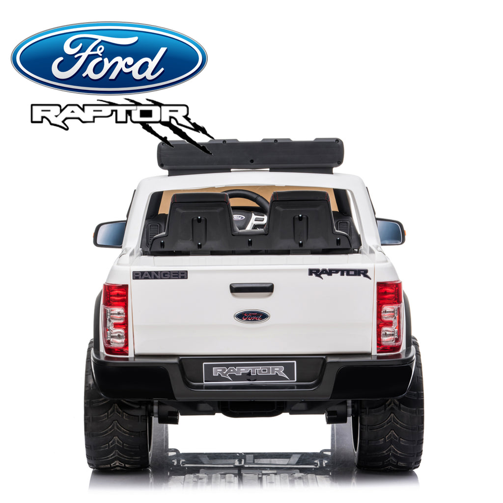 Demo *NEW*  White Ford Raptor  - 2 seater kids electric ride on car rubber tyres