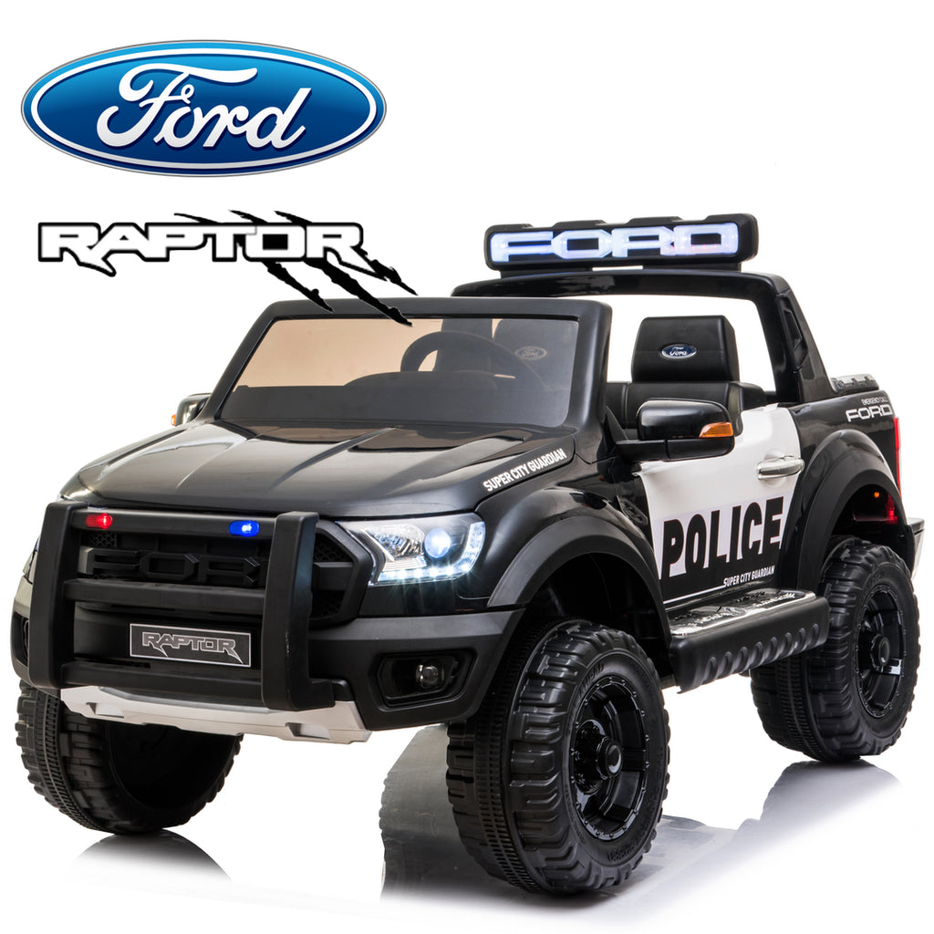 *NEW*  Police Ford Raptor  - 2 seater kids electric ride on car-black