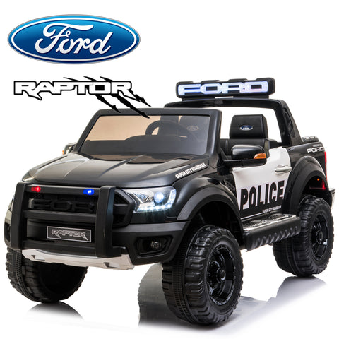 Image of *NEW*  Police Ford Raptor  - 2 seater kids electric ride on car rubber tyres-black