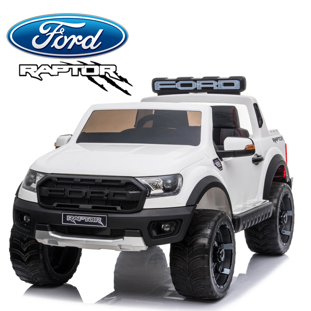*NEW*  White Ford Raptor  - 2 seater kids electric ride on car rubber tyres