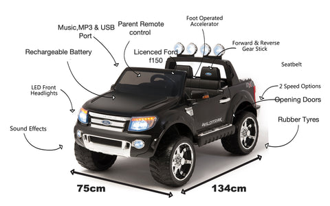 Image of 12V Ford Ranger 2 seater kids electric ride on car plastic wheels-black