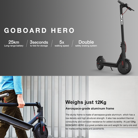 Goboard Hero - Ultralight Lithium electric scooter-WHT- 7.8AH Battery  25Km range