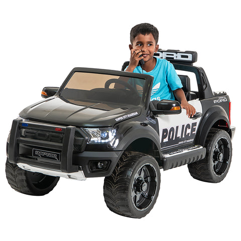 Image of *NEW*  Police Ford Raptor  - 2 seater kids electric ride on car-black