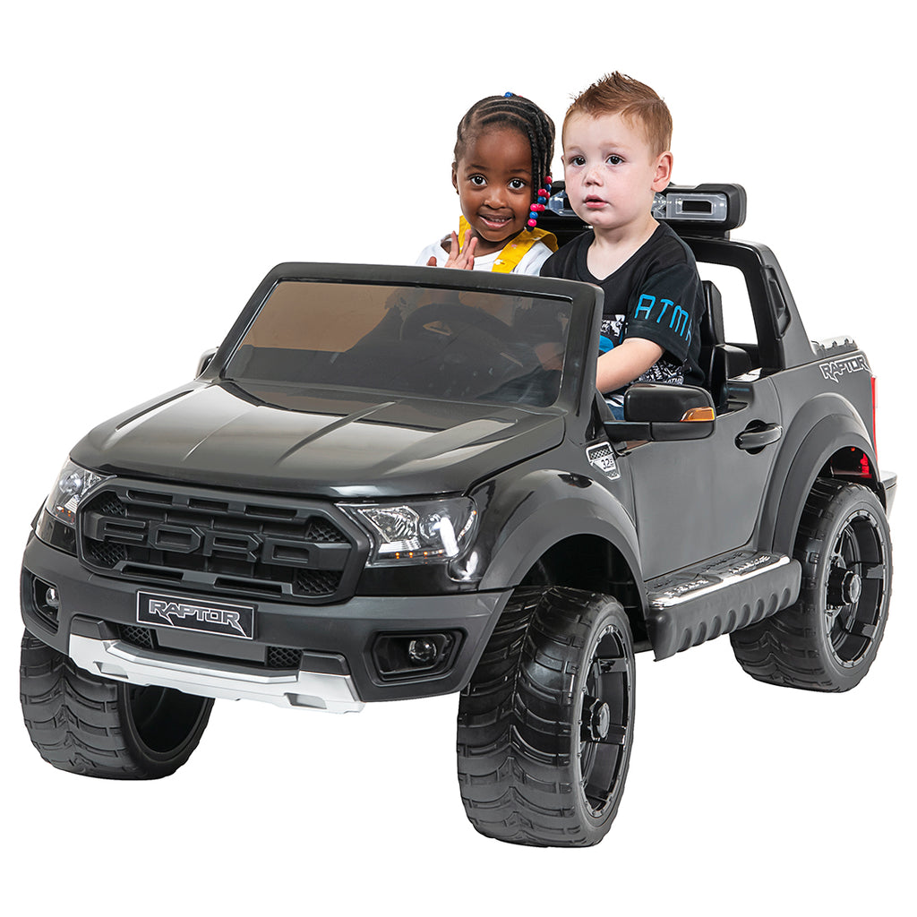 *NEW*  Black Ford Raptor  - 2 seater kids electric ride on car rubber tyres