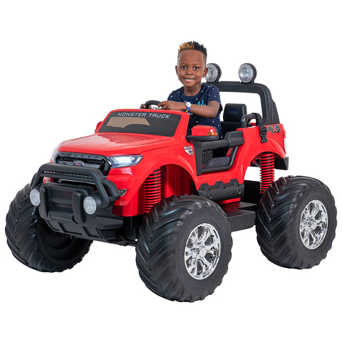 Image of 24V Ford Monster truck kids electric ride on car (Red) ride on car, 4 Wheel drive and Rubber tyres