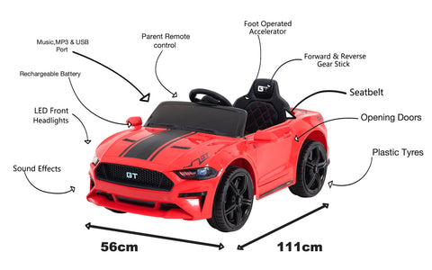 Image of 12V Mustang replica kids electric muscle ride on car, with remote control