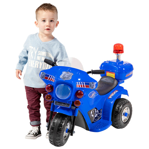 Image of Police motorcycle battery kids ride on- blue