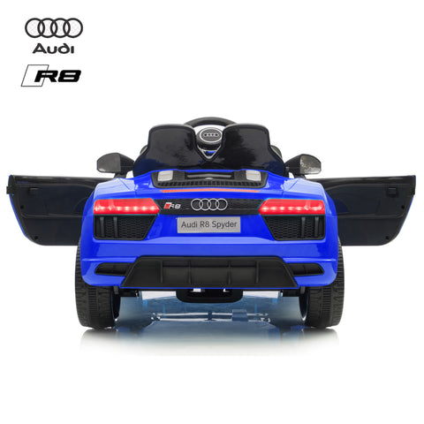 Image of 12V Audi R8 kids electric ride on car - blue