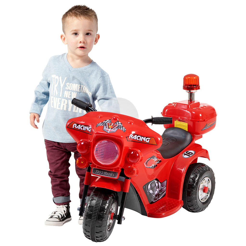 Racing motorcycle battery kids ride on- red