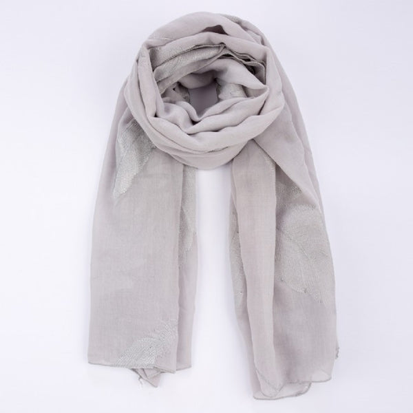 Grey with Silver Feathers Scarf