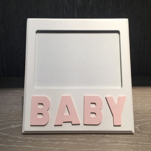 Wood Baby Picture Frame, Pink
