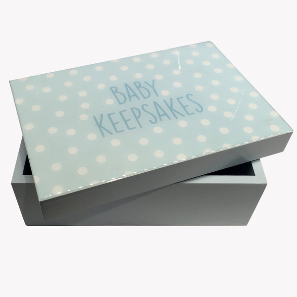 Baby Keepsakes Gloss Wood Box, Blue