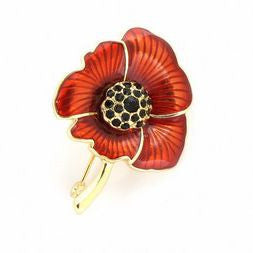 Poppy Brooch Enamelled Gold / Red Finish
