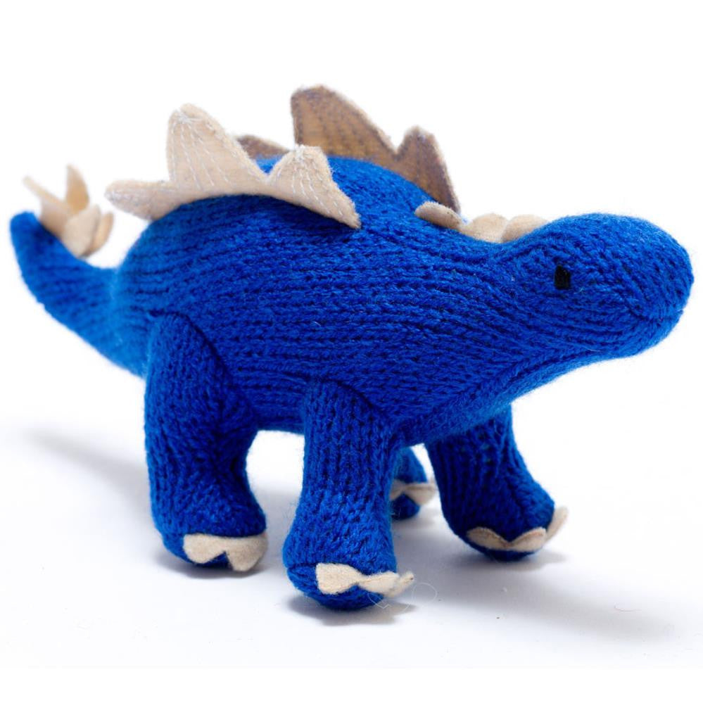 Dinosaur Toy for Babies, knitted Stegosaurus rattle