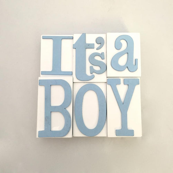 "Wood Block Wall Plaque ""It's a Boy"""