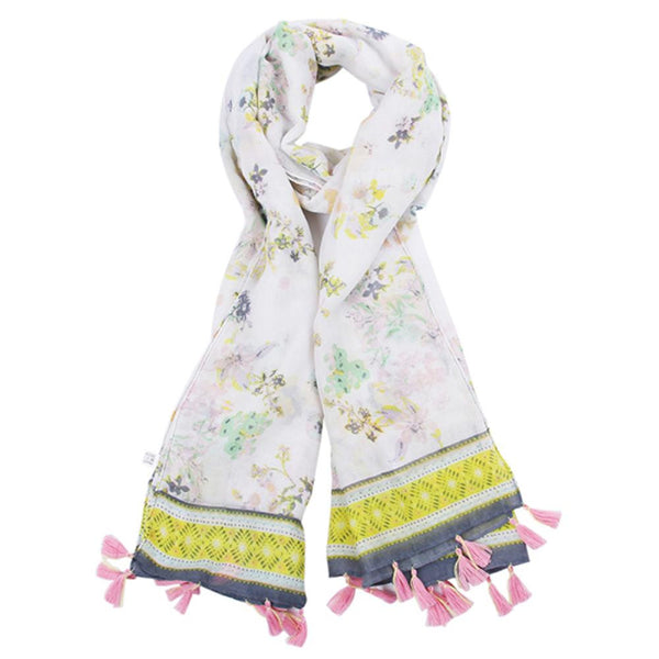 Yellow Floral with Pink Tassel