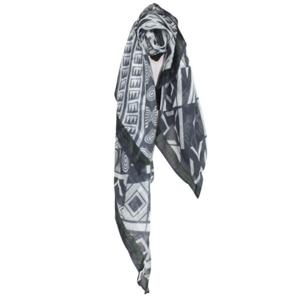 Monochromatic Aztec Patterned Scarf