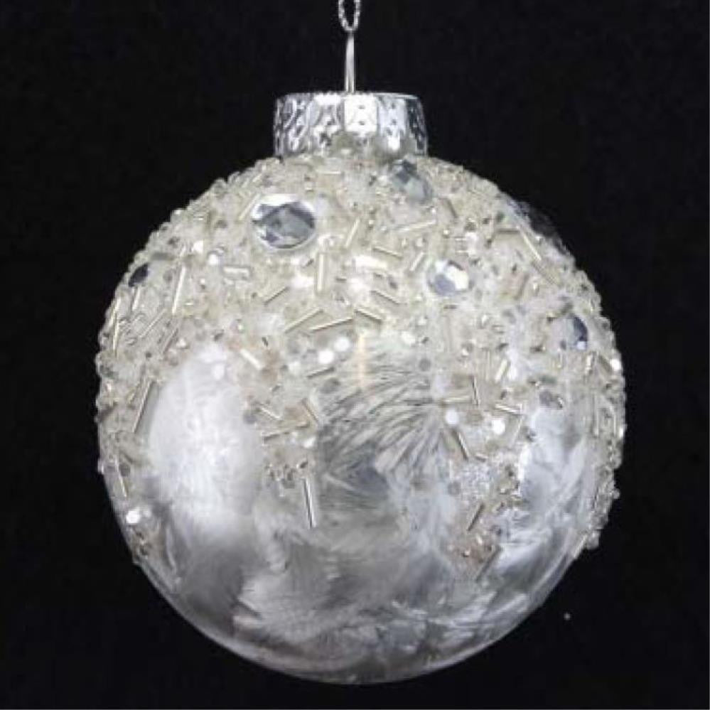 Damask Glass Ball with Bead/Diamante Top