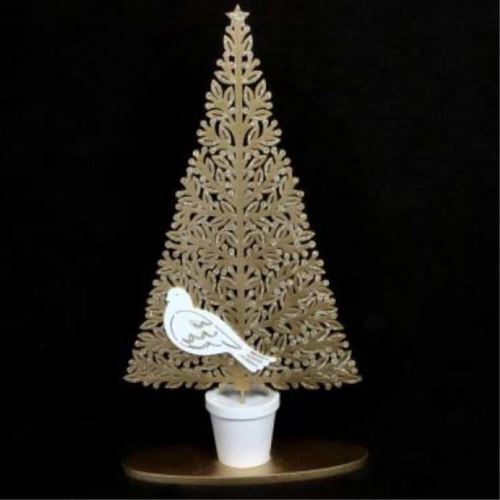 Fretwork Tree with Dove in Pot Ornament