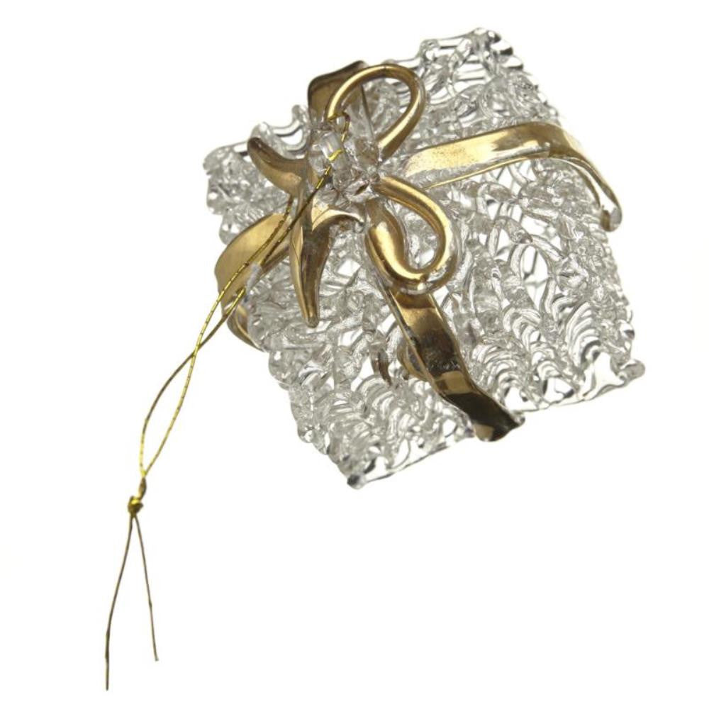 Large Glass Present Gold Ribbon