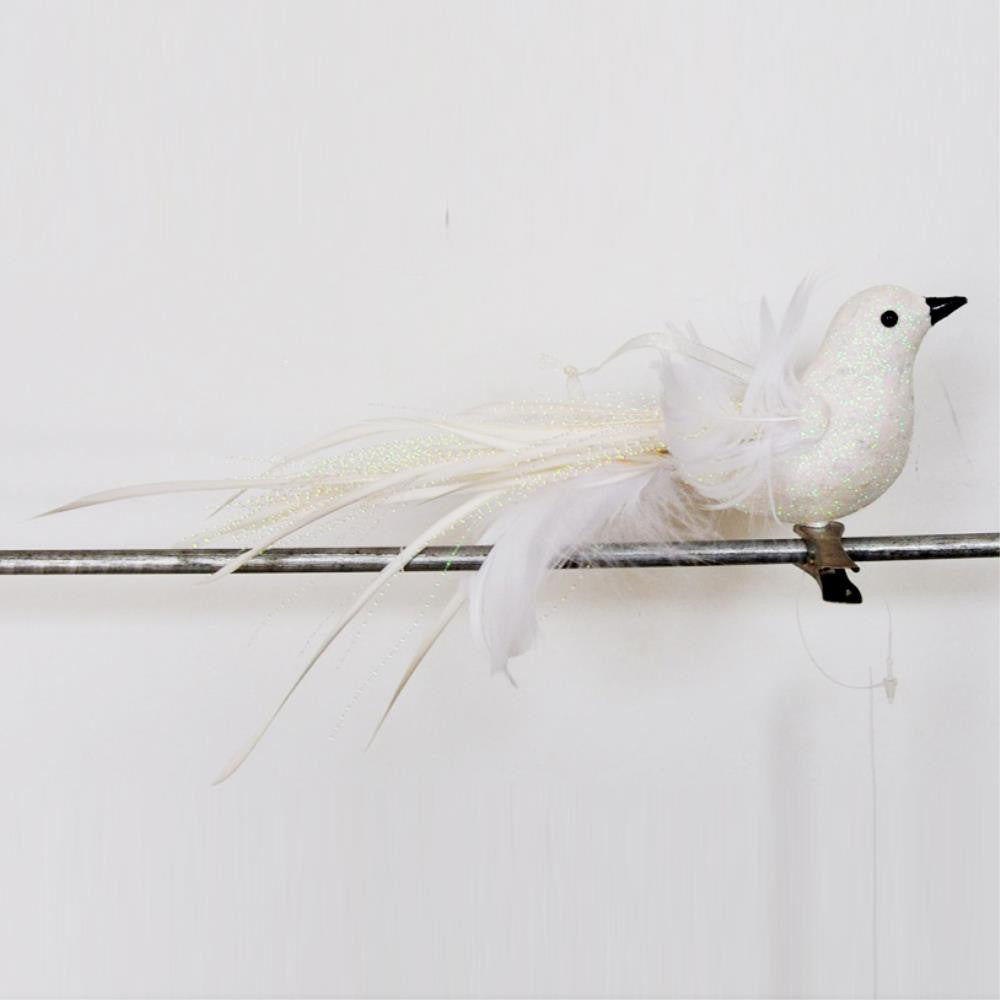 Feather Bird Clip, White