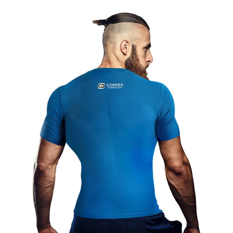 Copper Compression Mens Short Sleeve T-Shirt in Blue