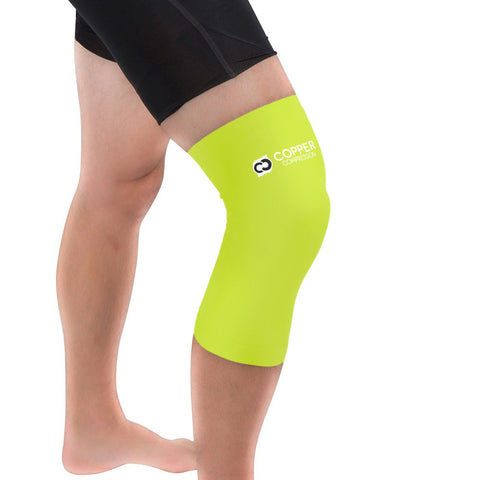 Copper Compression Colored Knee Sleeve in Safety Yellow