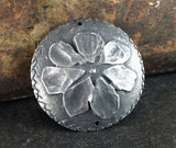 Handcast Domed Flower Connector Pendant, Handmade Jewelry Making Components, Pewter Jewellery, DIY Artisan Crafting - No. 32PD