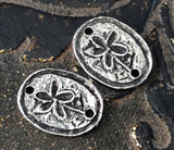 Flower Earring Connector Charms, Handmade Jewelry Making Components, Handcrafted Artisan Jewellery Accessories, Diy, Pewter - No. 183-CP