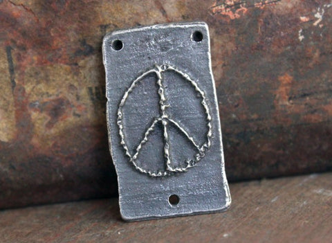 Peace Sign Symbol Pendant Connector, Handmade Jewelry Making Components, Craft Supplies, Artisan Handcrafted Pewter Metal - No. 112-PD