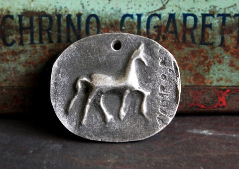 Aged Horse Pendant Primitive Design Hand-cast Metalwork Jewelry No. 75-PD