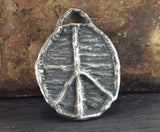 Peace Symbol Pendant Pewter  Handcrafted Handmade Jewelry Making Hand Cast Jewelry Elements No. 133-PD