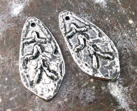 Handmade Charms, Handcrafted Jewelry Making Components, Artisan DIY Craft Jewellery, Polished Hand Cast Pewter Metal Accessories - 255-CP