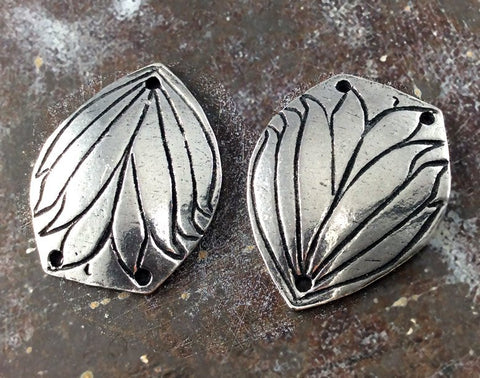 Flower Connector Charms, Handcrafted  Handmade Artisan DIY Jewelry Components, Polished Pewter Metal Accessories, Hand Cast Crafts - 519-CP