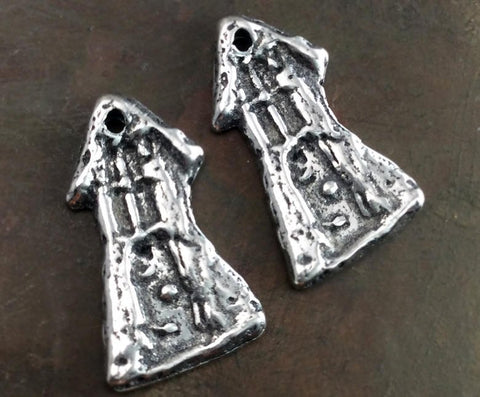 Hobbit House Charms, Handcrafted Handmade Artisan DIY Jewelry Components, Polished Pewter Metal Accessories, Crafting Supply - 548-CP
