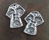 Mushroom Charms, Handcrafted Handmade Artisan Jewelry Making Components, Polished Pewter Metal Accessories, Hand Cast DIY Crafts - 542-CP