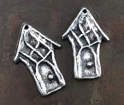 Hobbit House Charms, Handcrafted Handmade Artisan DIY Jewelry Making Components, Hand Cast Pewter Metal Accessories - 549-CP