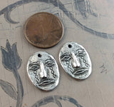 Handcrafted Face Mask Charms, Primitive Handcrafted Handmade Artisan DIY Jewelry Making Components, Cast Pewter Metal, Rustic Aged - 605-CP