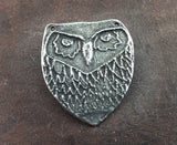 Handmade Owl Pendant, Handcrafted Pendant, Animal Pendant, Bird Pendant, Pewter Jewelry Pendant, Necklace Pendant, Hand Cast - No. 35PD