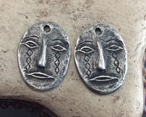 Handcrafted Face Mask Charms, Primitive Handmade Artisan DIY Jewelry Making Components, Hand Cast Pewter Metal, Rustic Aged -   605-CD