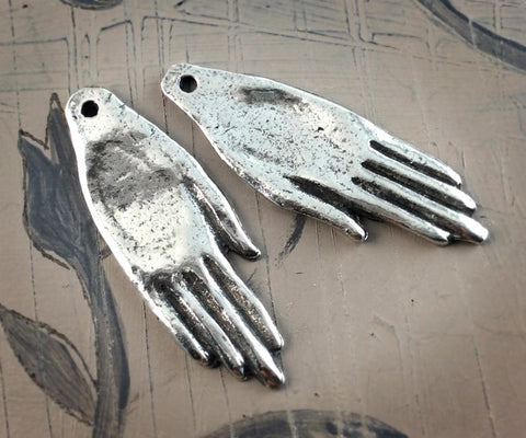Hand Charms, Handcrafted Artisan Jewelry Making Components, DIY Handmade Crafting Jewellery Supply and Accessory, Pewter - No. 05-CP
