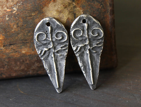 Handcrafted Jewelry Charms, Primitive Rustic Handmade Artisan DIY Jewellery Making Components, Hand Cast Pewter Metal -188-CD