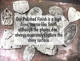 Polished Artisan Handcrafted Pendant, Handmade Jewelry Making Components, Hand Cast Pewter, DIY Supplies, Polished Shiny - No. 41-PP